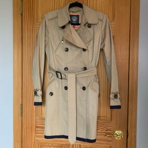 Beige with navy detailing trench